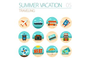 Traveling icon set. Summer. Vacation