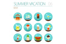 Bar beach icon set. Summer. Vacation