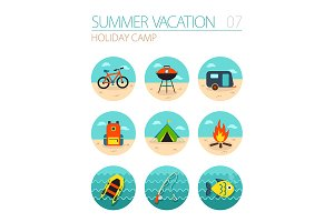 Summer camping icon set. Holiday