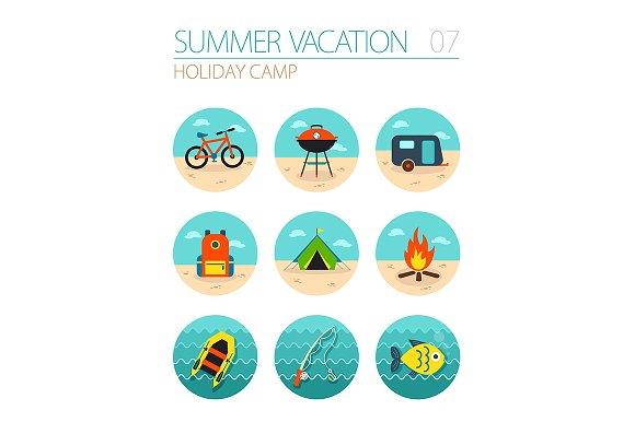 Summer camping icon set. Holiday - Icons