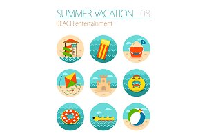 Beach entertainment icon set