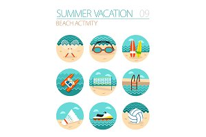 Beach activity icon set. Vacation