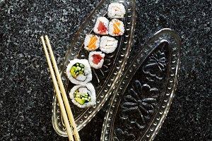 sushi rolls, nigiri, maki, wasabi.