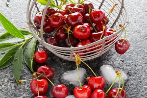 ripe fresh Cherries in the basket