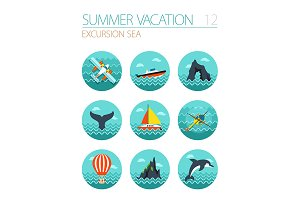 Excursion sea icon set. Vacation