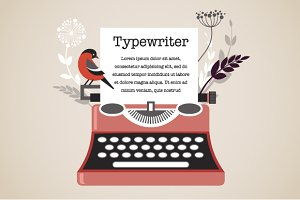 Vintage Typewriter with Bird