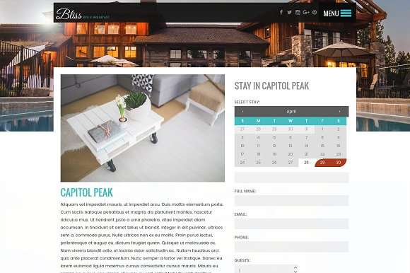 BnB, Cabin, Rental Wordpress Theme