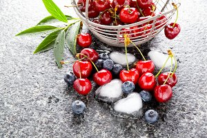 mixed Berries on Marble table