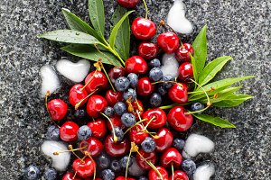 Morning Berries on Marble table