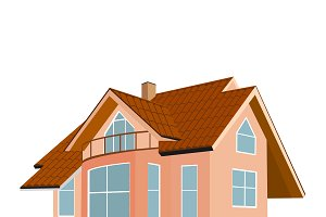 home, house, brown roof, vector