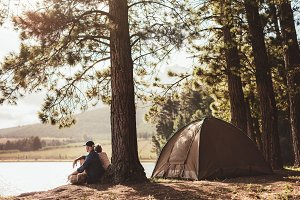 Mature couple camping