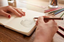 Woman hands sketching flower