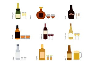 Alcohol bottles with glasses icons
