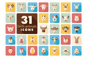 Farm animals flat icons set