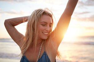 Smiling young caucasian woman