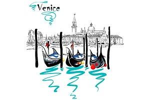 Vector Gondolas in Venice lagoon