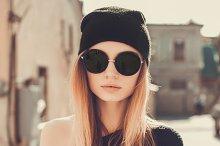 Outdoor hipster portrait girl