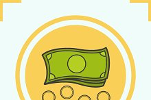 Money color icon. Vector