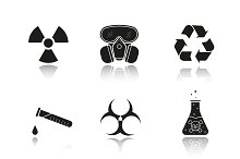 Chemical industry. 9 icons. Vector