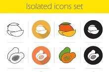 Tropical fruit. 12 icons. Vector