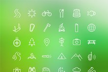 Camping. 30 icons. Vector