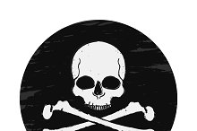 Skull and crossbones emblem. Vector