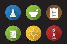Chemical lab. 9 icons. Vector