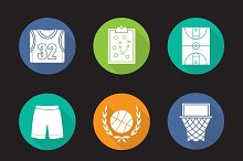 Basketball. 9 icons. Vector