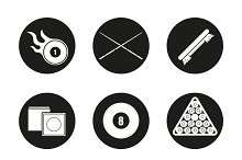 Billiard. 9 icons set. Vector