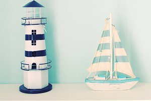 Lighthouse and ship for decorated