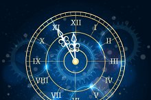 Happy new year blue clock background