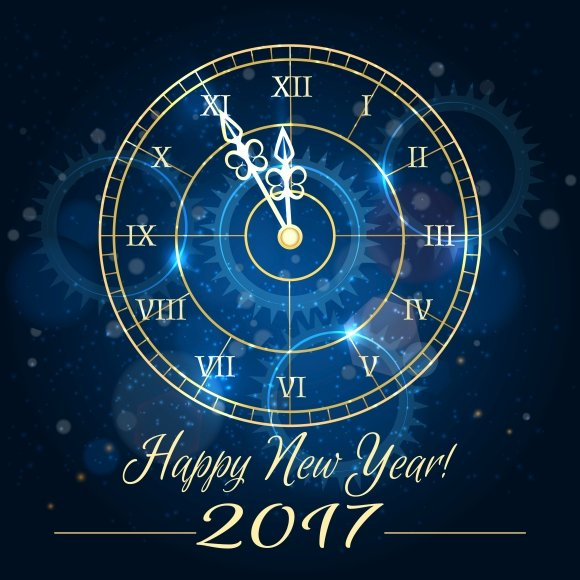 happy new year blue clock background graphics