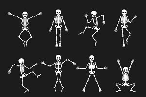 Funny dancing skeleton set