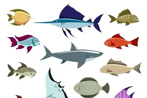 Colored fish vector icons