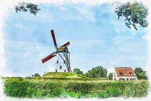 watercolor windmill landscape