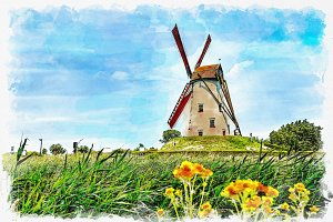 watercolor windmill landscape.