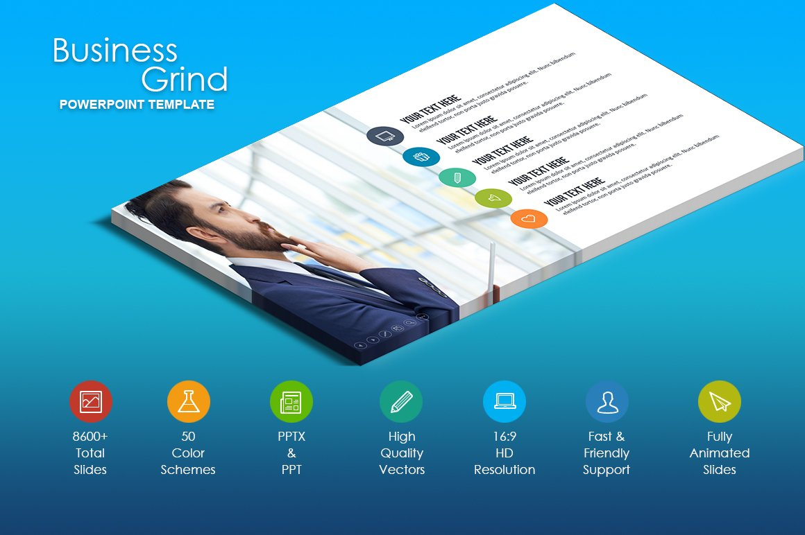 Business grind powerpoint template presentation templates business grind powerpoint template presentation templates creative market toneelgroepblik Choice Image