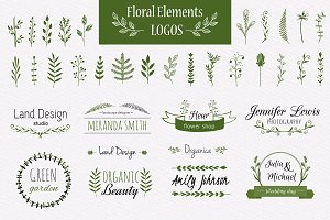 Hand-drawn floral elements and logos