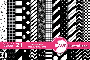 Black & White Digital Papers AMB-531