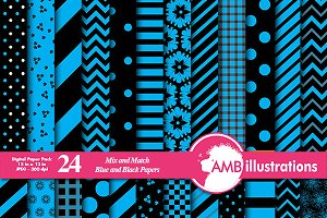Blue & Black Digital Papers AMB-532