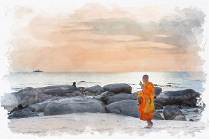 watercolor of monk on beach