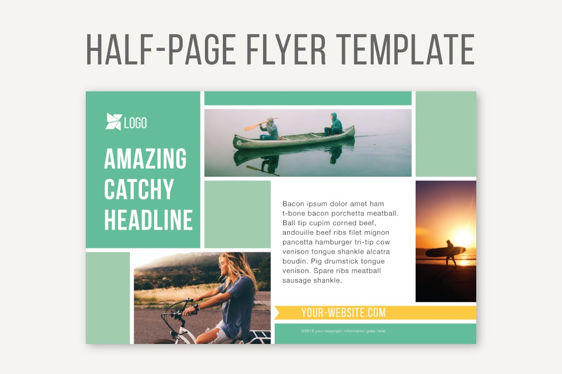 half page flyer template templates on creative market