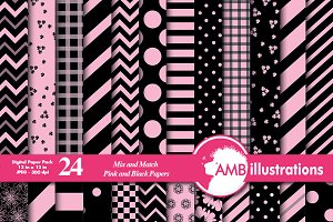 Pink & Black Digital Papers AMB-533