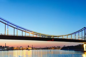 Pedestrian bridge panorama. Kiev