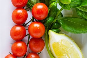 basil, cherry tomatoes, lemon.