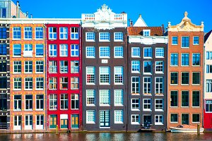 Traditional dutch medieval houses in Amsterdam, Netherlands