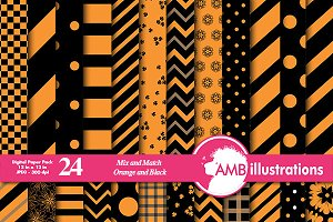 Orange & Black Digital Paper AMB-534