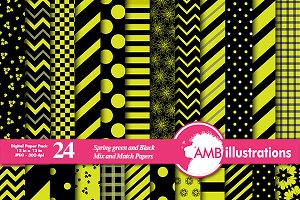 Green & Black Digital papers AMB-535