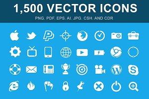 1,500 Vector Glyph Icons