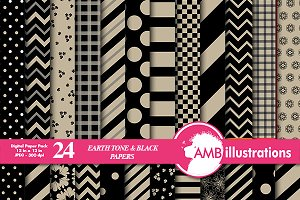 Beige & Black Digital Papers AMB-538